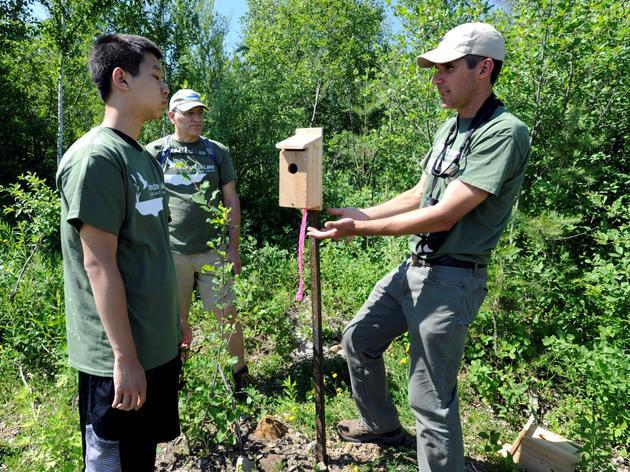 Community Volunteers Explore Turtle Habitat and Volunteer-Built Bird Nesting Structures